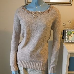 Oatmeal Sequined Wool Sweater